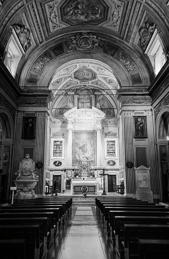 Santa Maria Della Concezione Rome Italy BW by Joan Carroll