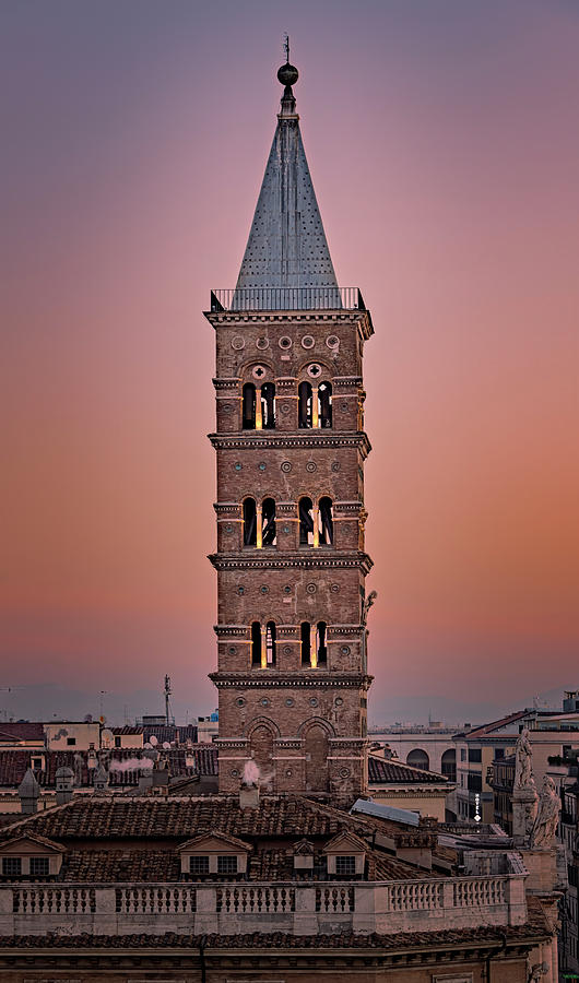Santa Maria Maggiore Bell Tower Rome Italy by Joan Carroll