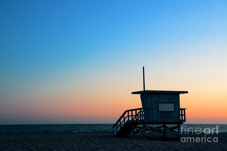 Sunrise Photograph - Santa Monica Beach Safeguard Tower At by Songquan Deng