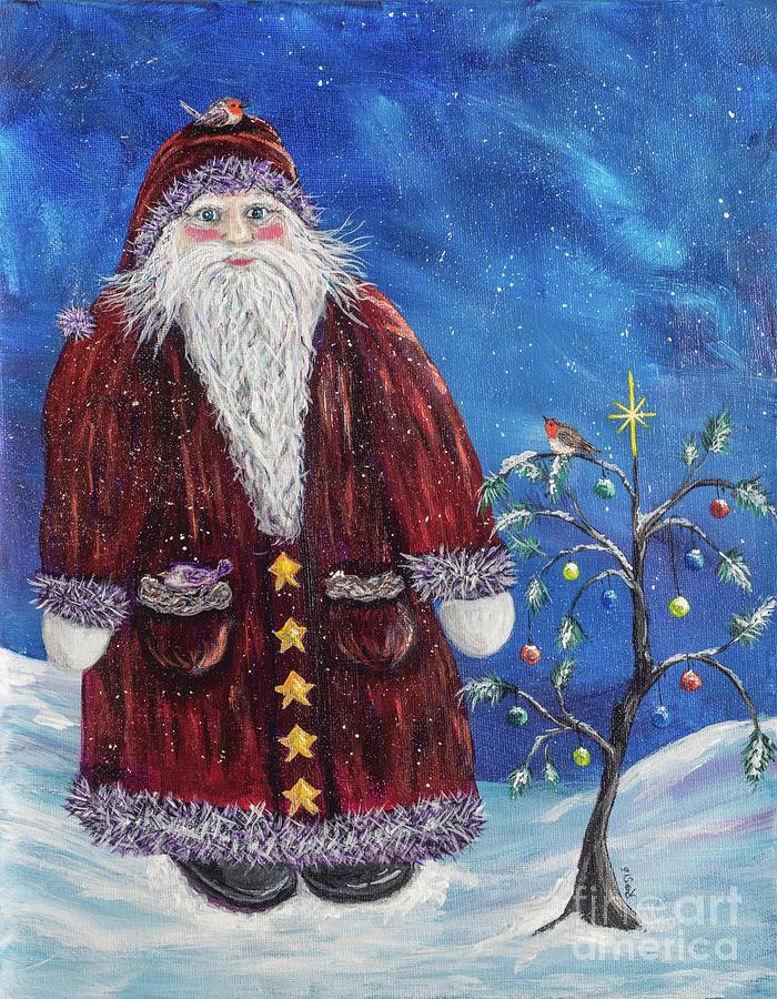 Santa Claus Painting - Santa Visits Friends by Rosie Kuhn