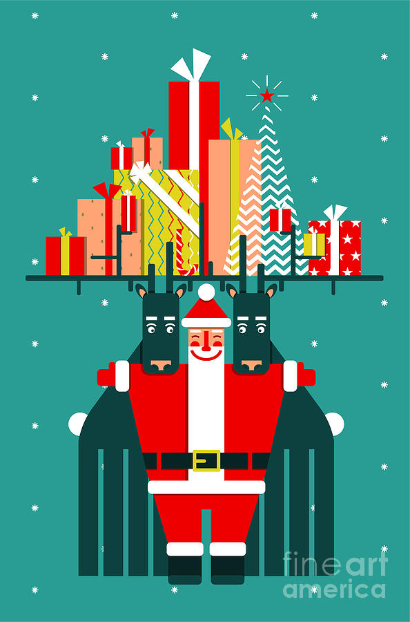 Symbol Digital Art - Santa With Deers Gifts And Presents by Popmarleo