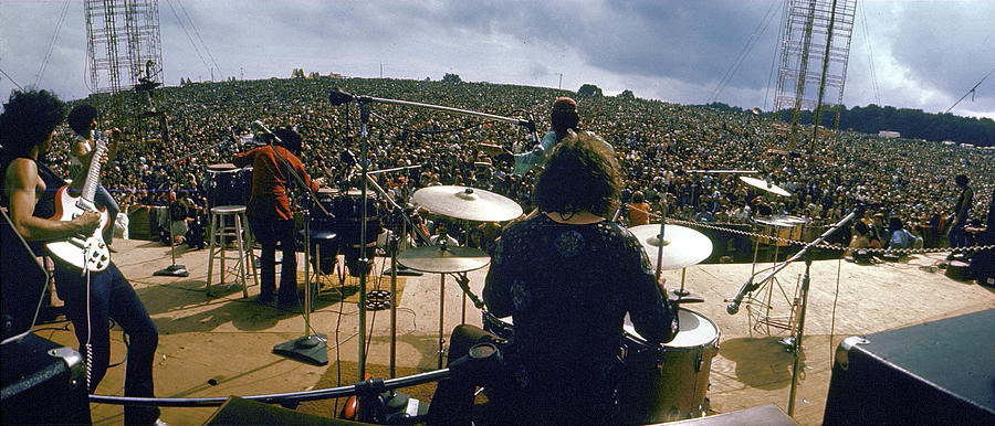 Crowd Photograph - Santana Onstage At Woodstock by Bill Eppridge