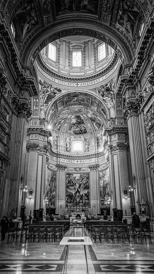 Sant'andrea Della Valle Rome Italy BW by Joan Carroll