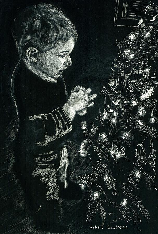 Scratchboard Drawing - Santas Helper by Robert Goudreau