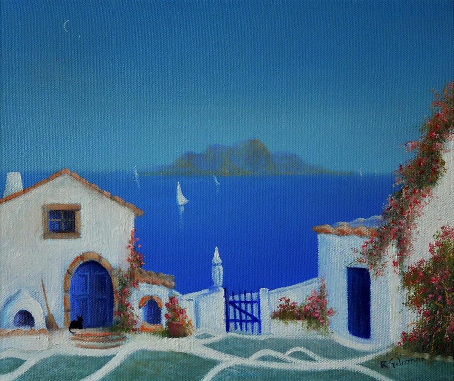 Greek Blue Painting - Santorini Greek Blue by Ray Gilronan