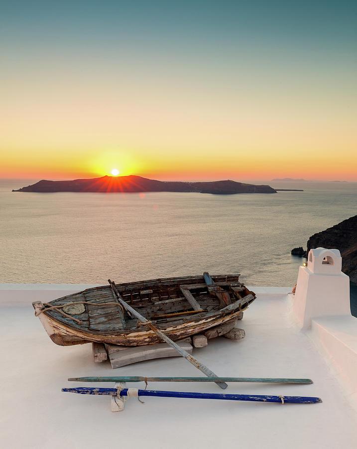 Santorini Old Boat Sunset, Greece Photograph by Chrishepburn