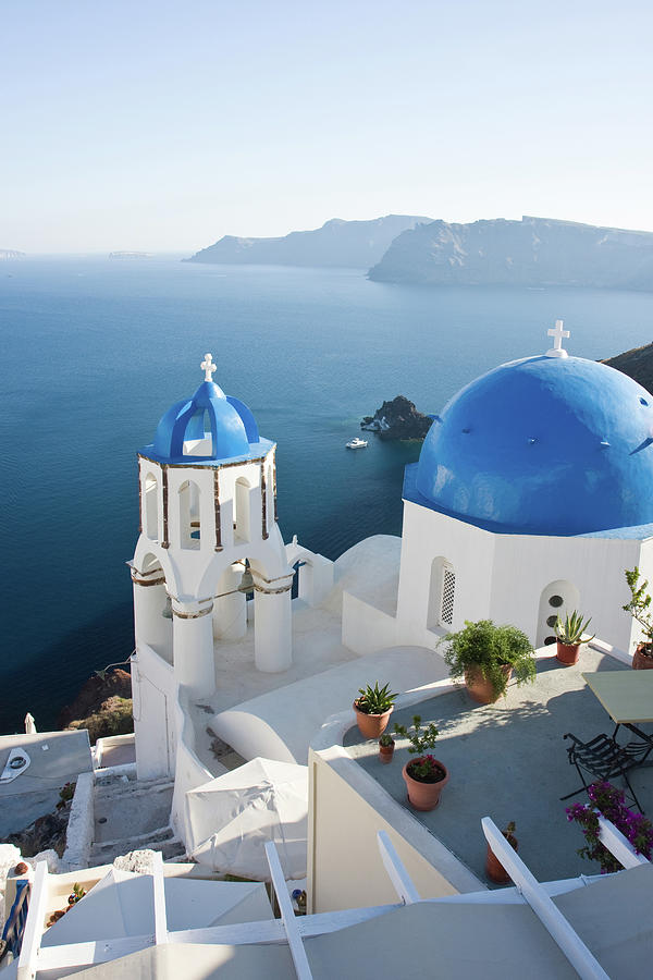 Santorini Terrace And Churches With Photograph by Arturbo