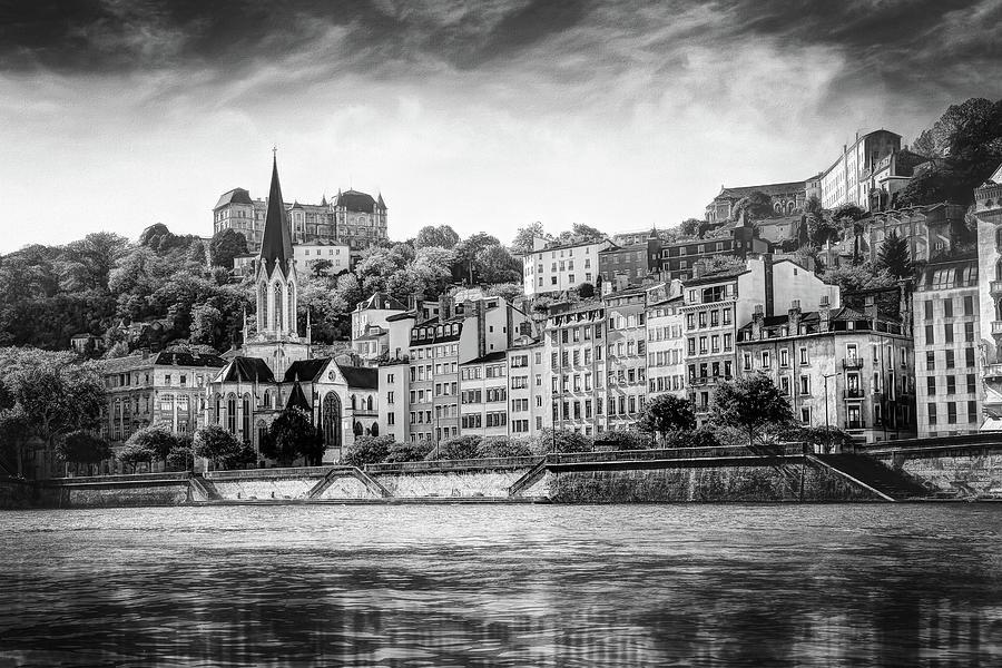 Saone Riverside Lyon France Black And White Photograph