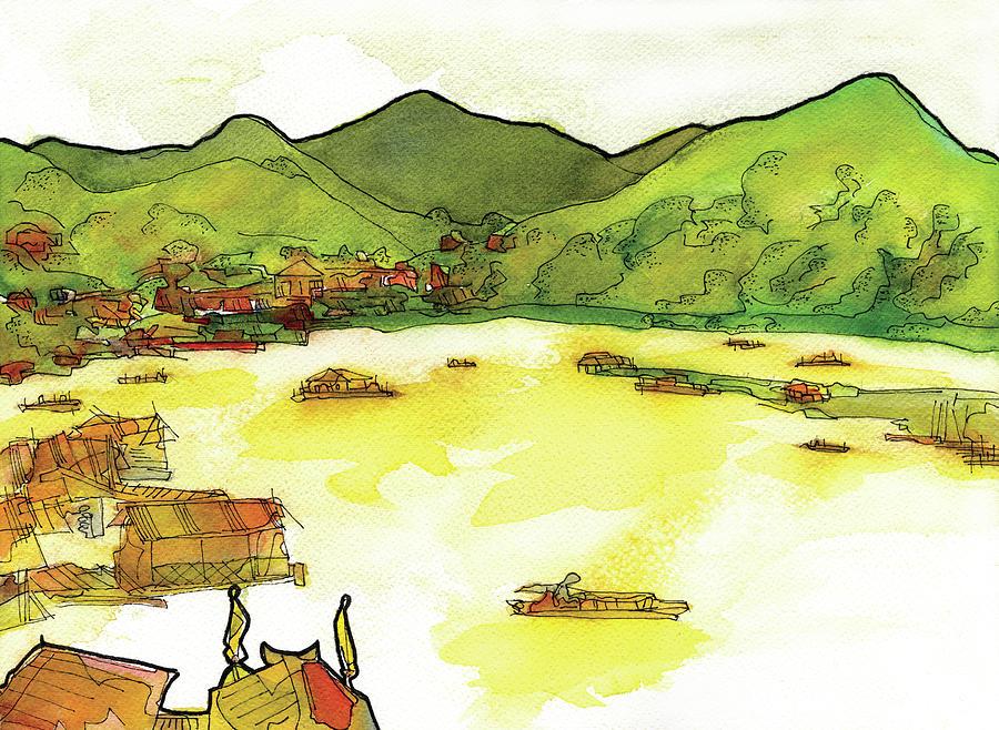 Landscape Painting - Saphan Mon, Sangkhlaburi by Craig Macnaughton