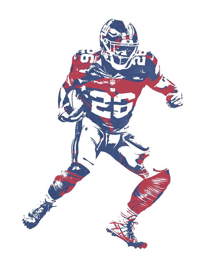 Giants Mixed Media - Saquon Barkley New York Giants Pixel Art 5 by Joe Hamilton