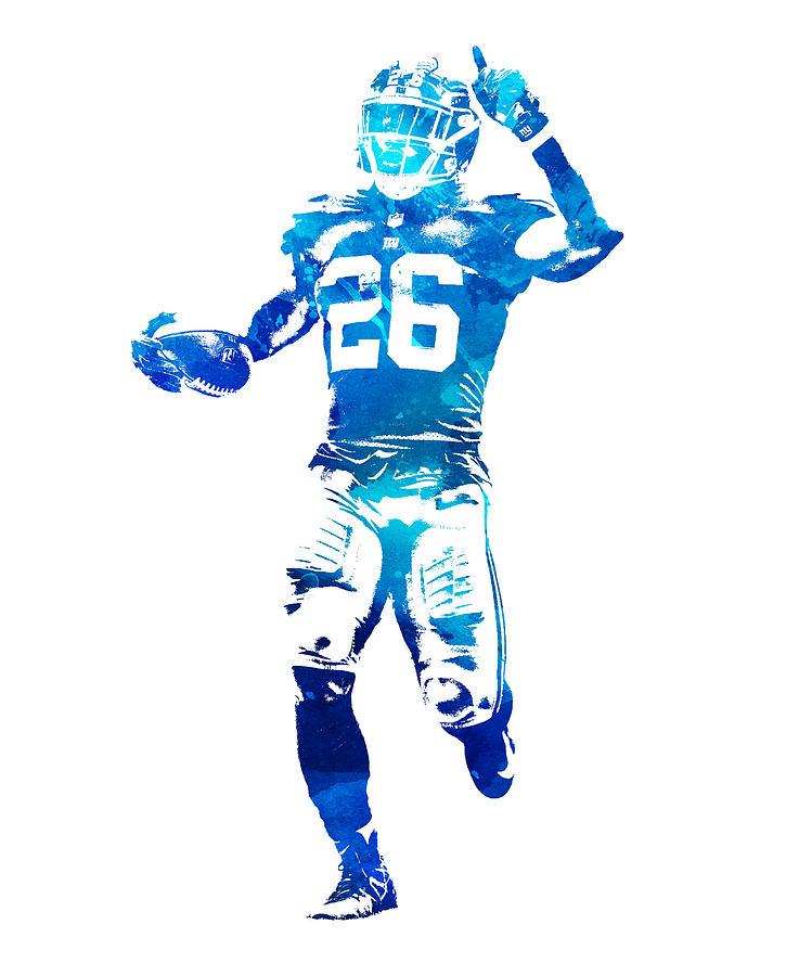 Giants Mixed Media - Saquon Barkley New York Giants Water Color Pixel Art 10 by Joe Hamilton