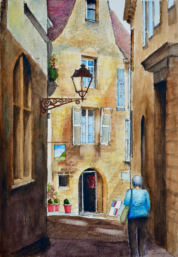Street Lamp in the old town of Sarlat in France by Dai Wynn