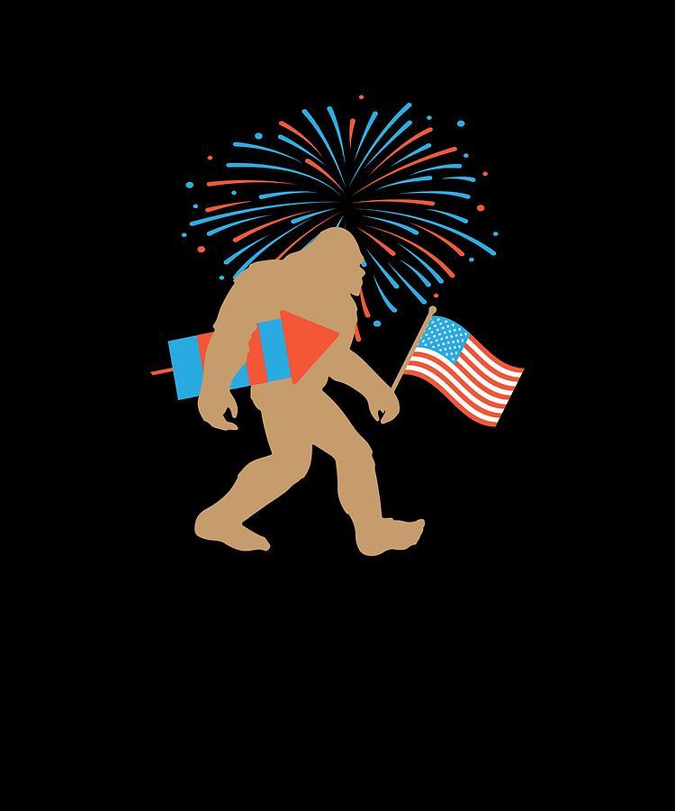 Sasquatch Bigfoot American Flag Fourth Of July Patriotic Gift