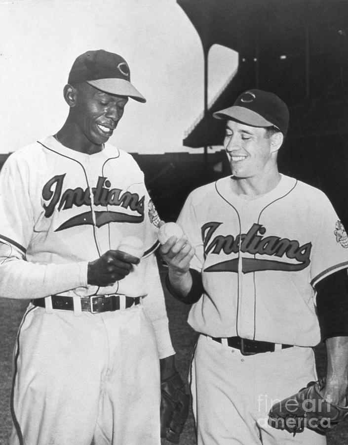 Satchel Paige Bob Feller Comparing Photograph by Transcendental Graphics