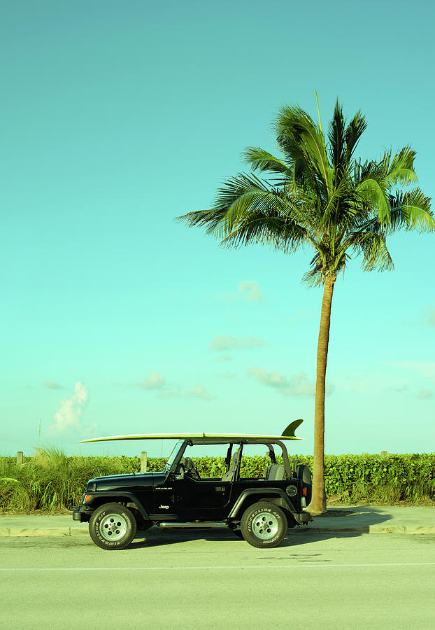 Surfer Photograph - Saturday Surfer Jeep by Laura Fasulo