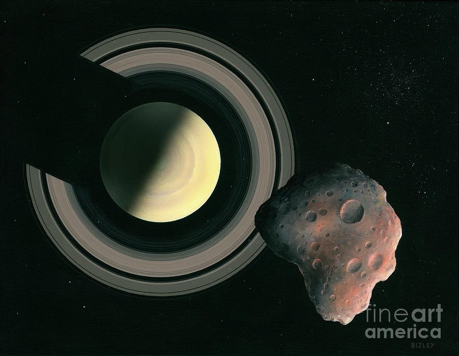 Artwork Photograph - Saturn And Space Rock by Richard Bizley/science Photo Library