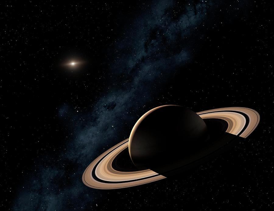 Saturn Planet In Solar System, Close-up Photograph by Science Photo Library - Mark Garlick.