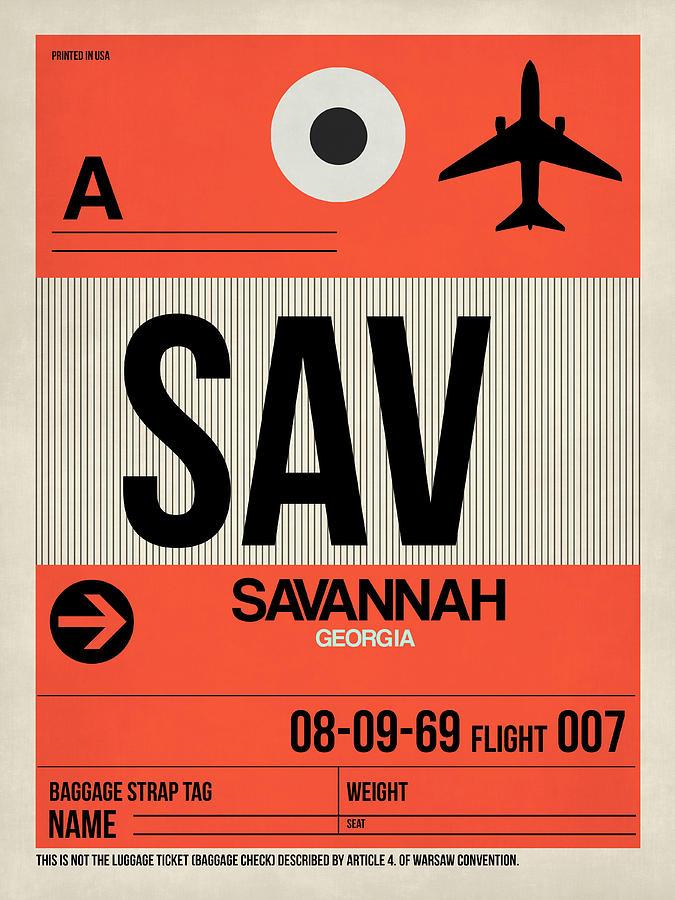 Vacation Digital Art - Sav Savannah Luggage Tag I by Naxart Studio