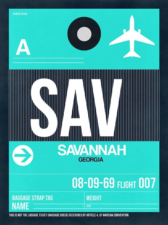 Vacation Digital Art - SAV Savannah Luggage Tag II by Naxart Studio