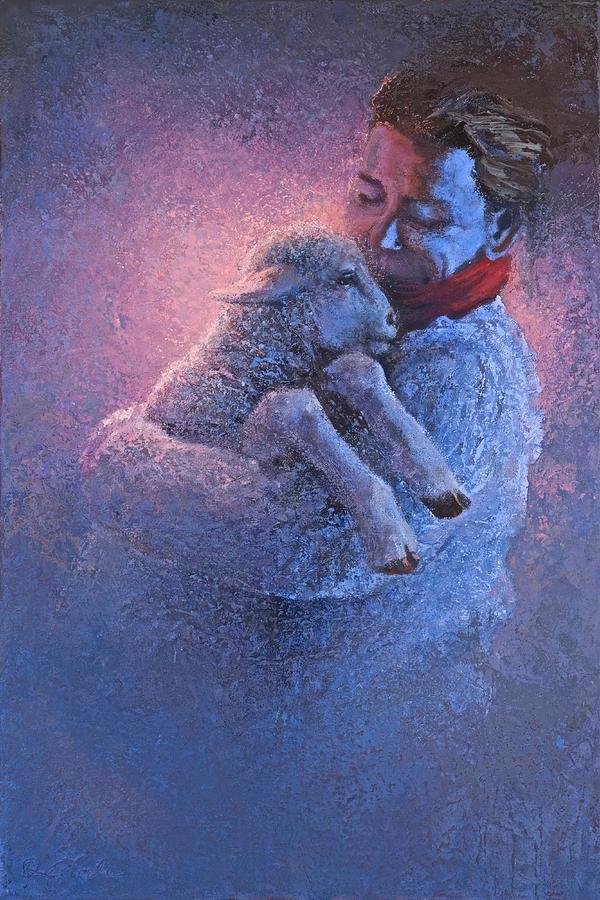 Lamb Painting - Saving Grace by Mia DeLode