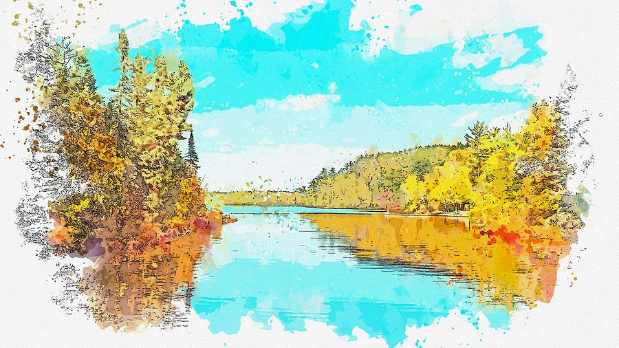 Nature Painting - Sawbill Lake,tofte, United States Watercolor By Ahmet Asar by Celestial Images