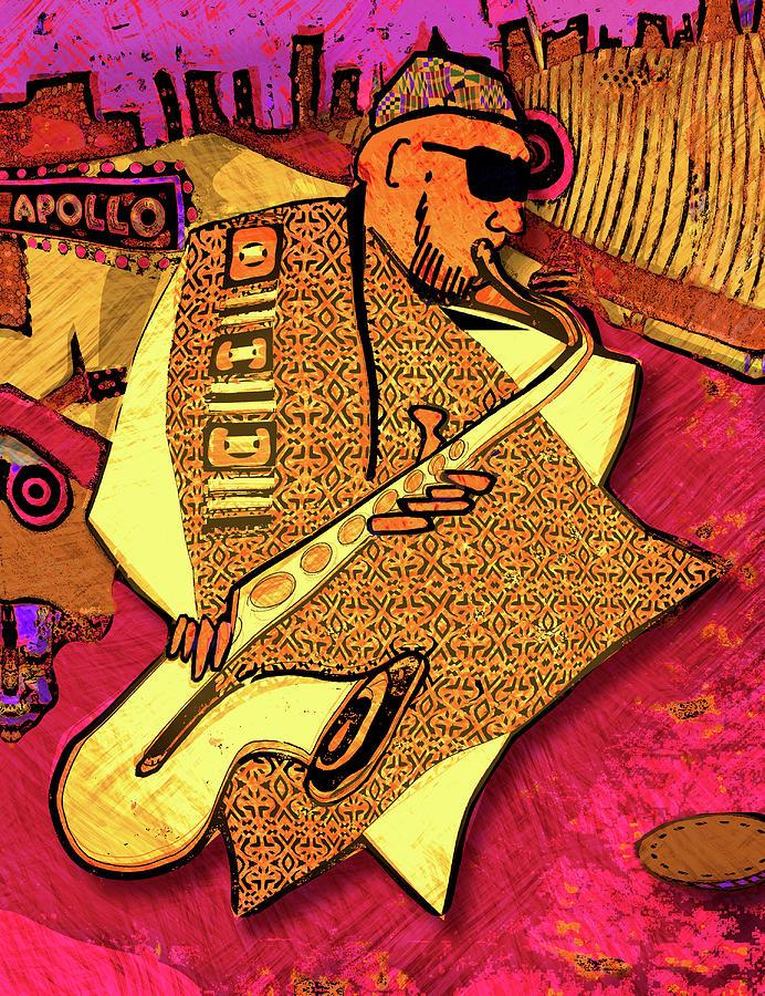 Saxophone Digital Art - Sax At The Apollo  by Regina Wyatt