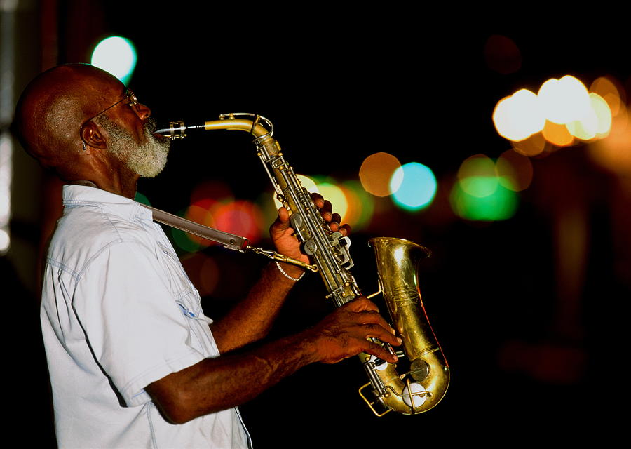 Saxophonist On Street At Night, New Photograph by Siegfried Layda