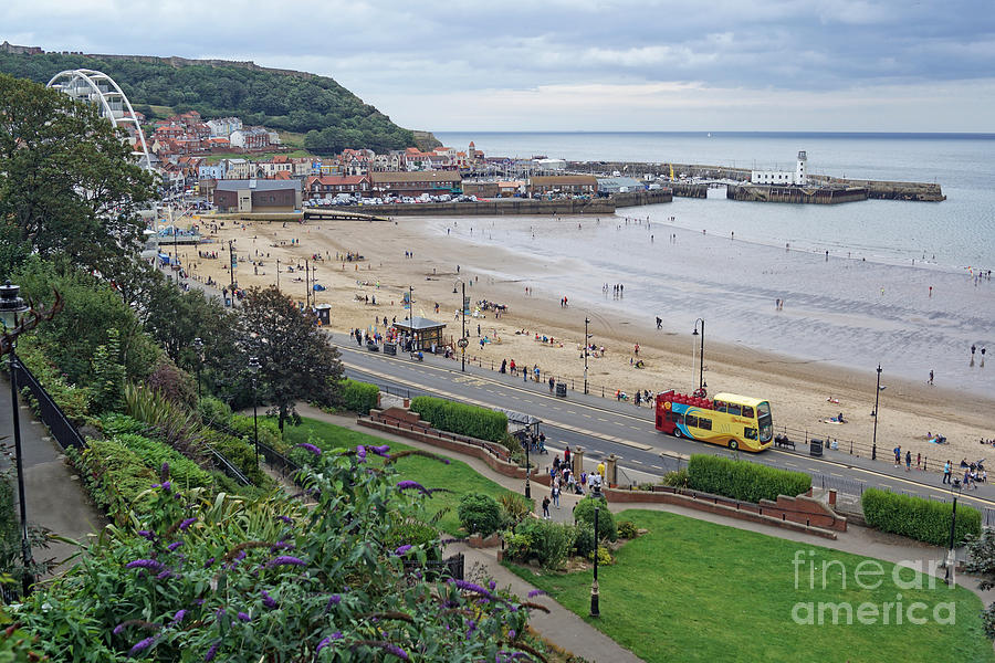 Scarborough beach from the town. by David Birchall