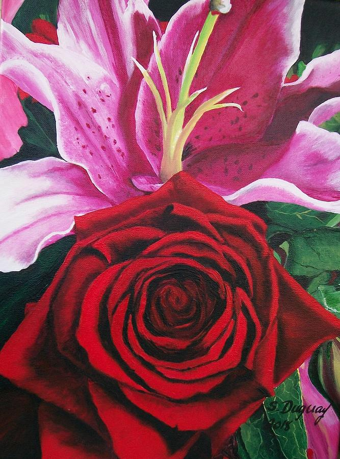 Scarlet Knight and a  Lily  by Sharon Duguay