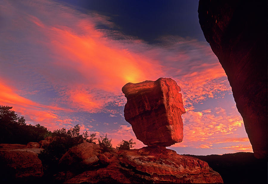 Scarlet Sunrise Behind Balanced Rock Garden Of The God Colorado Springs