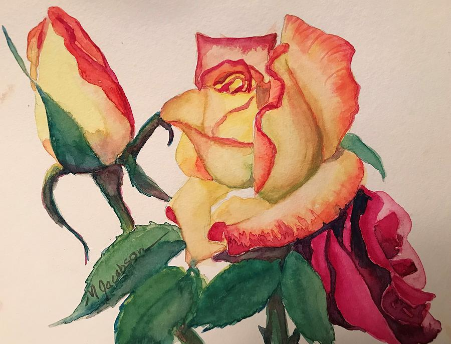 Scarlet Tipped Rose by Marilyn Jacobson