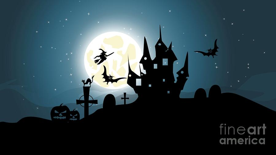 High Resolution Drawing - Scary Halloween Haunted Castle Graveyard Witch On Broomstick Jack O Lantern Pumpkin Head And Bats by Hi Res