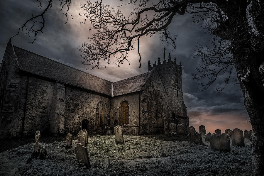 Church Photograph - Scary Night by Morten Golimo