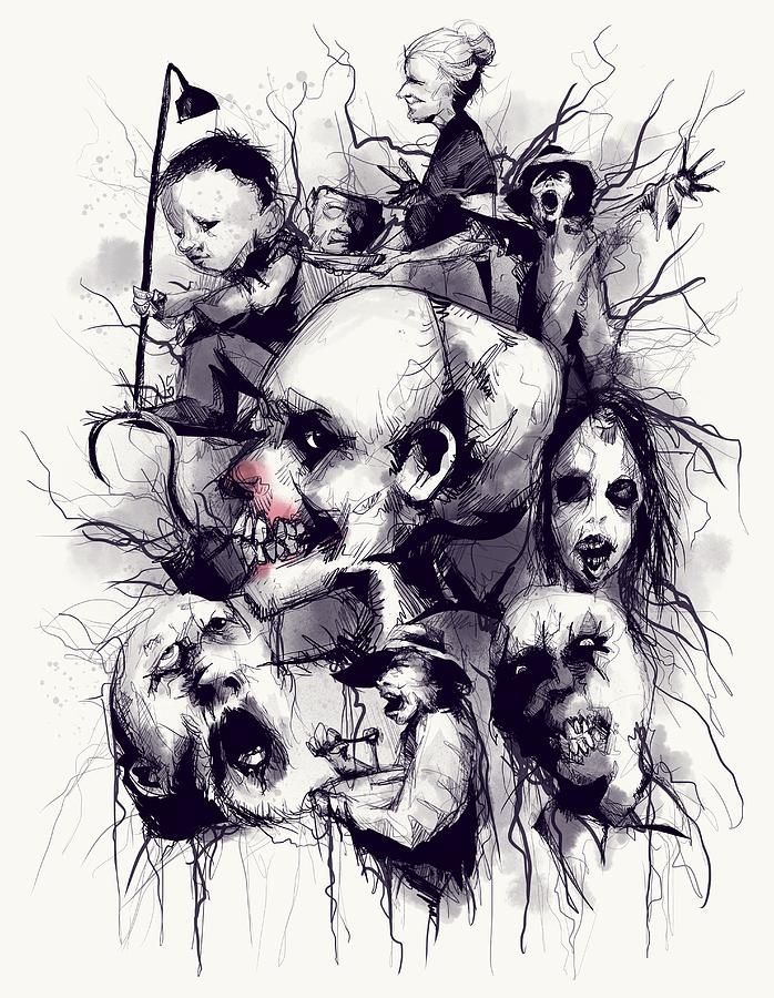 Skull Drawing - Scary Stories To Tell In The Dark by Ludwig Van Bacon