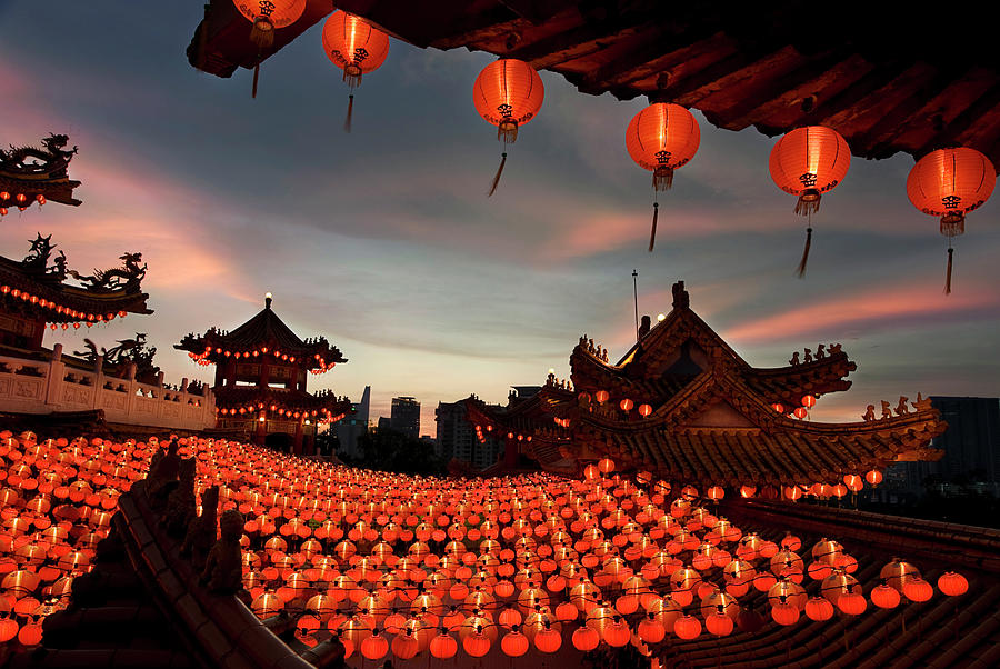 Chinese Culture Photograph - Scene Of Chinese Temple With Lanterns by Collinschin