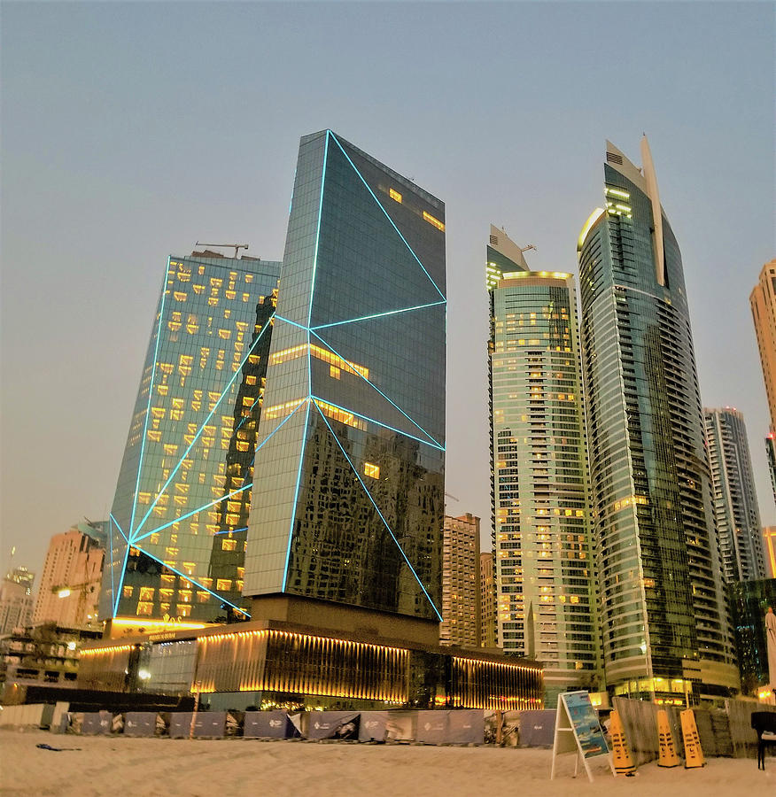 Scene of Dubai Marina, Dubai, United Arab Emirates by Jamie Baldwin