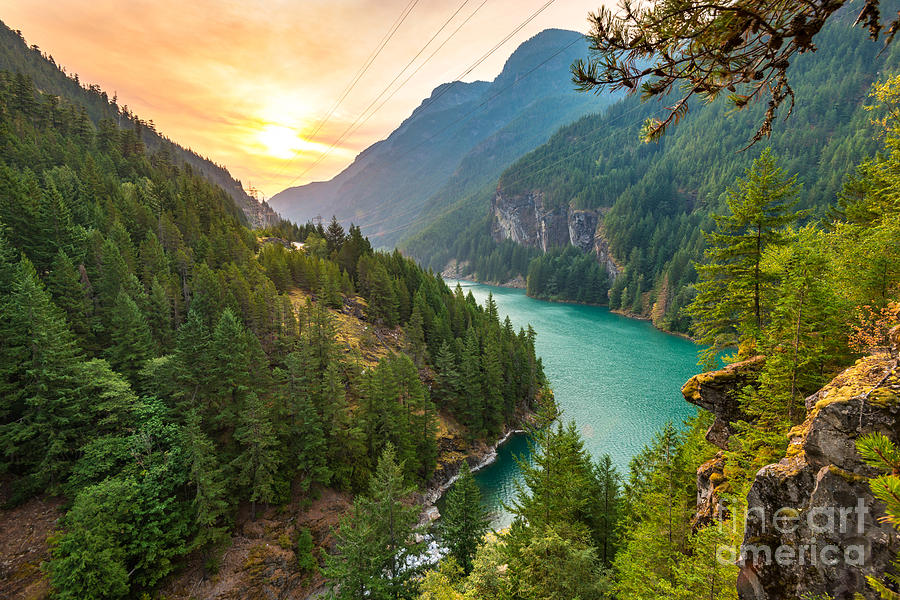 Country Photograph - Scene Over Diablo Lake When Sunrise In by Checubus