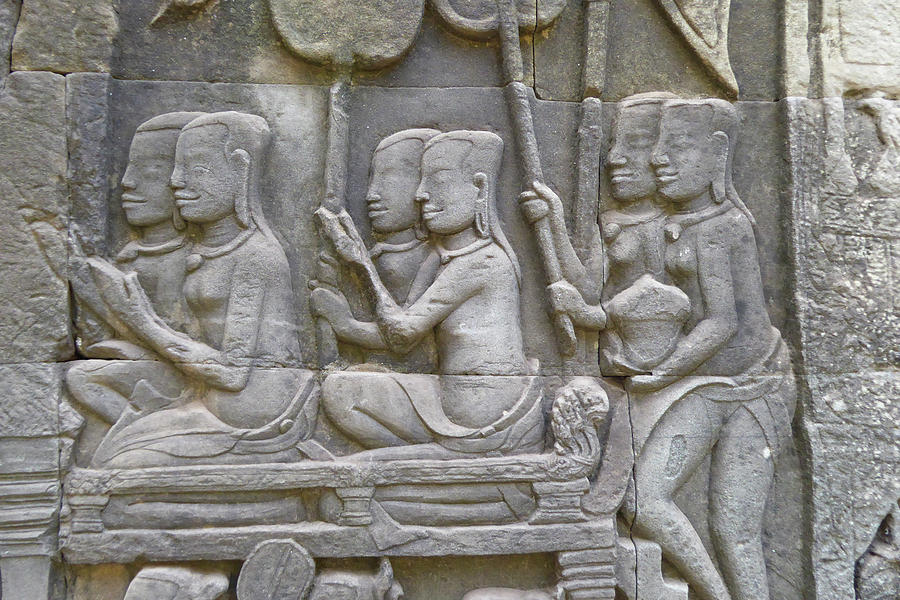 Scenes From Daily Life Bas Relief Sculpture Photograph By Steve Estvanik