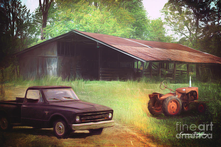 Barn Photograph - Scenes From The Past - Trucks And Tractors by Karen Beasley