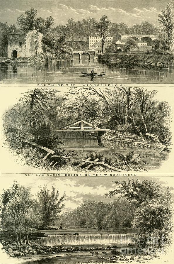 Scenes On The Wissahickon Drawing by Print Collector