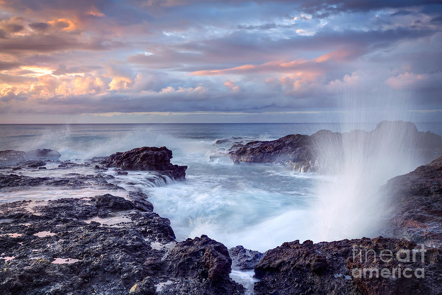 Dusk Photograph - Scenic View Of Blowhole On Rocky by Infografick