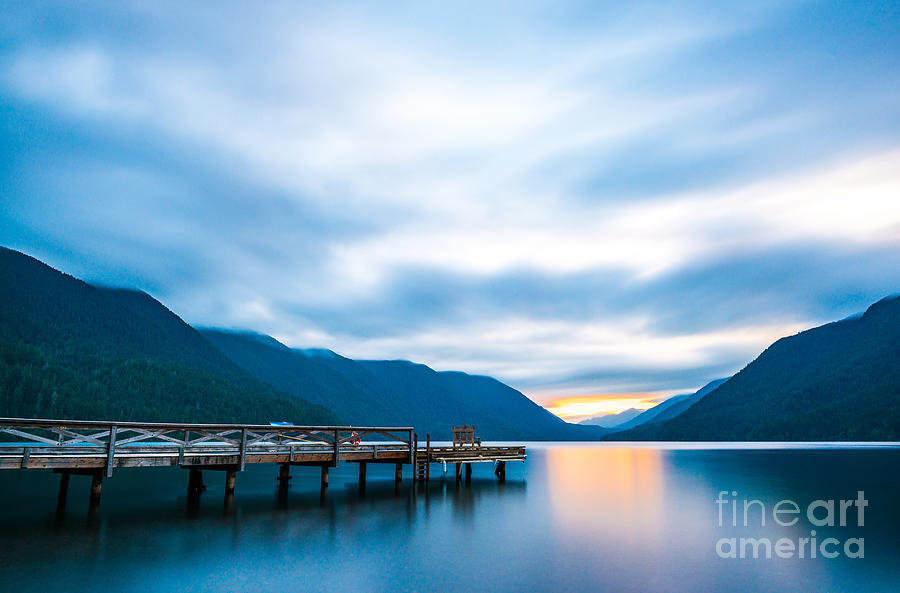 Beauty Photograph - Scenic View Of  Dock In  Lake Crescent by Checubus
