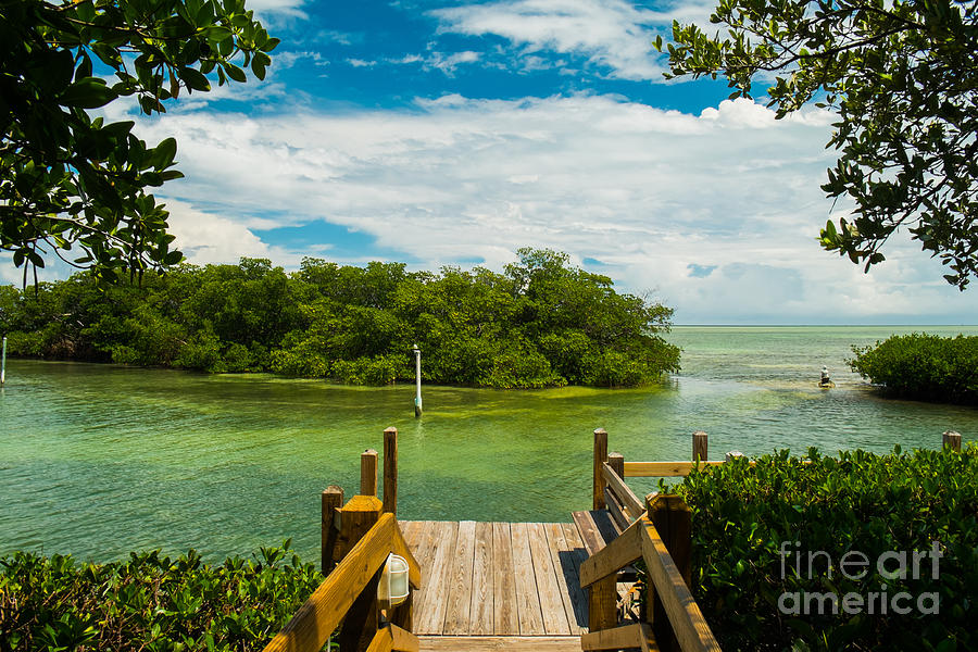 Blue Sky Photograph - Scenic View Of The Florida Keys With by Fotoluminate Llc
