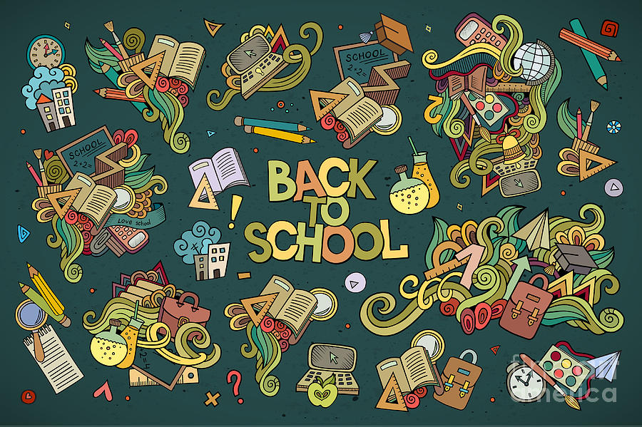 Symbol Digital Art - School And Education Doodles Hand Drawn by Balabolka