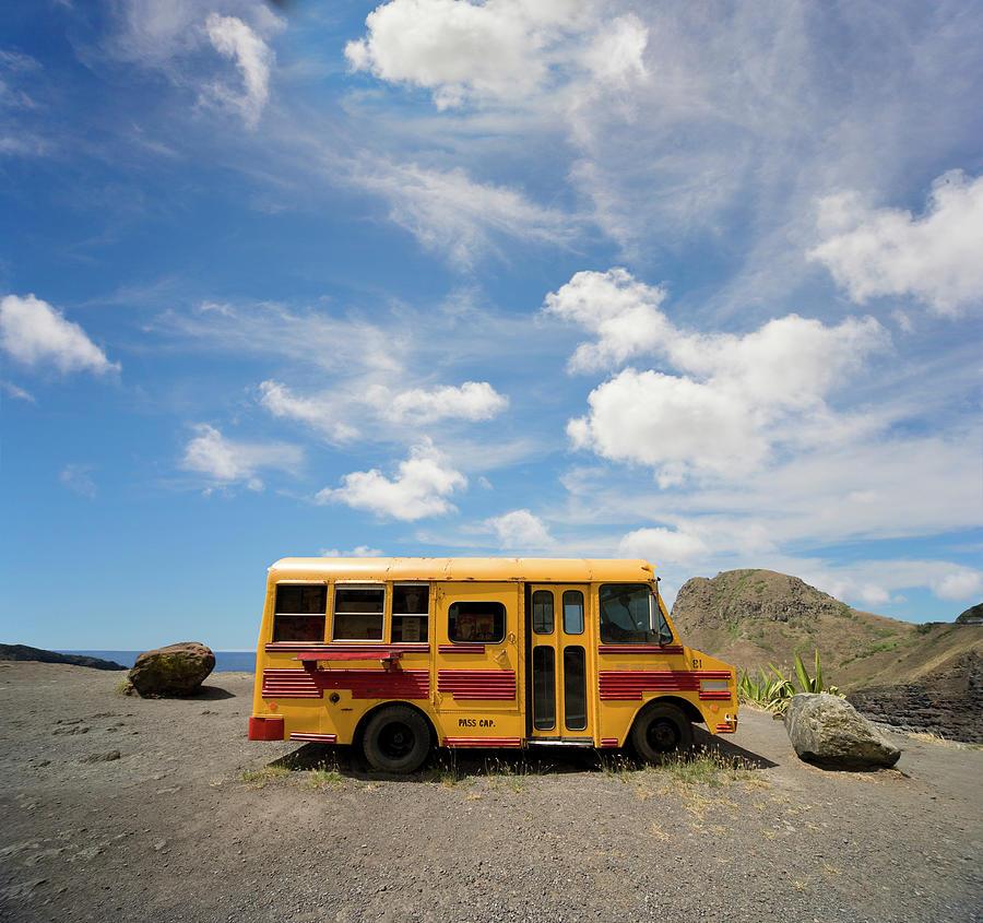 School Bus On Beach Photograph by Ed Freeman