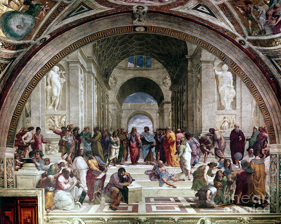 School Of Athens, C1510. Artist Raphael Drawing by Print Collector
