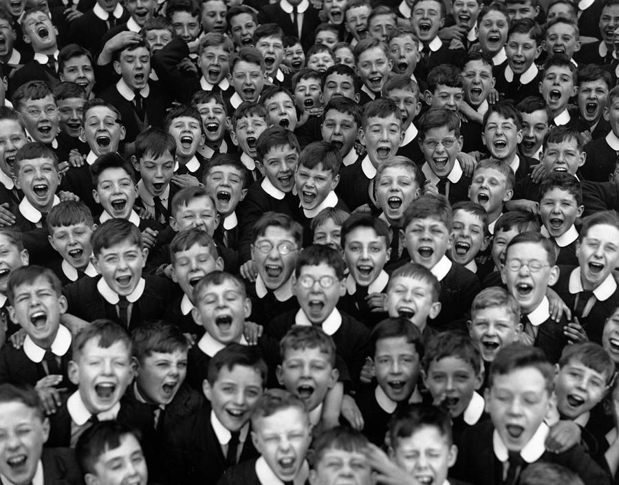 Schoolboys Cheer Photograph by Fox Photos