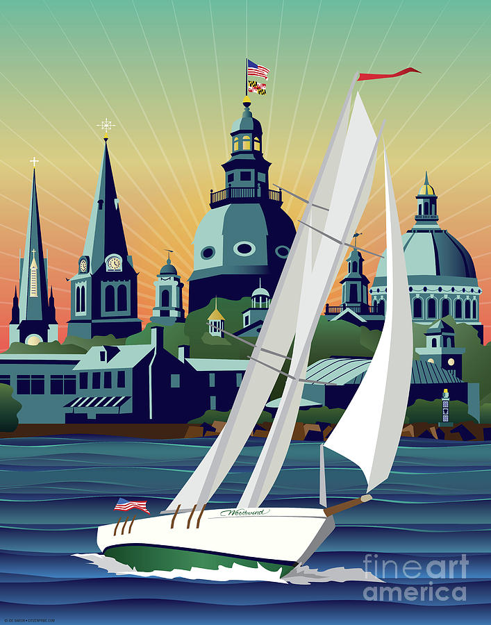 Annapolis Digital Art - Schooner Woodwind Chesapeake Bound by Joe Barsin