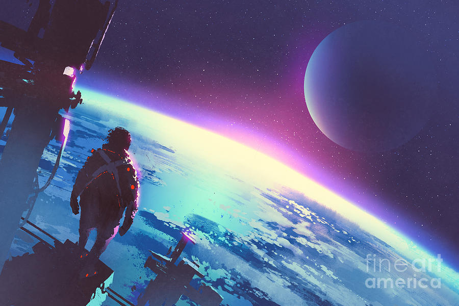 Atmosphere Digital Art - Sci-fi Concept Of The Man Looking At A by Tithi Luadthong