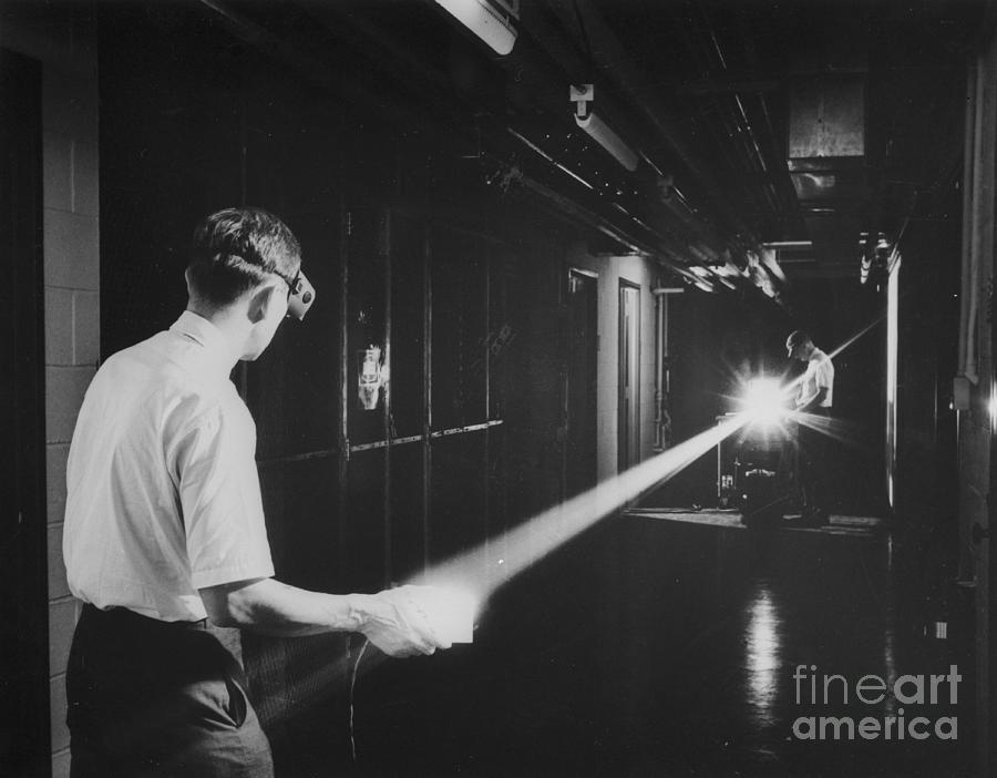 Scientists Measuring Argon Gas Laser Photograph by Bettmann